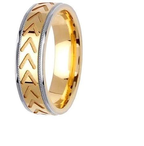 LA boda 14KLAW1044-S11 6mm 14K del anillo de bodas de dos tonos - Talla 11: Amazon.es: Amazon.es