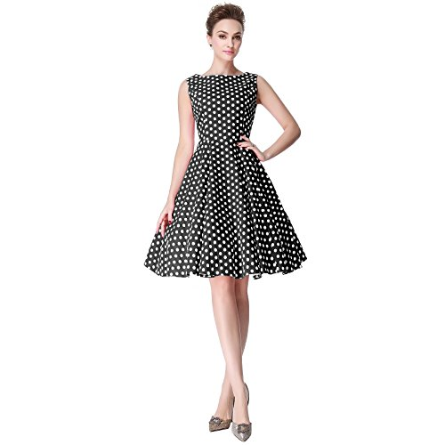 [Heroecol Womens Vintage 1950s Dresses Oblong Neck Sleeveless 50s 60s Style Retro Swing Cotton Dress Size S Color Black With White Polka] (1940s Dance Costumes)