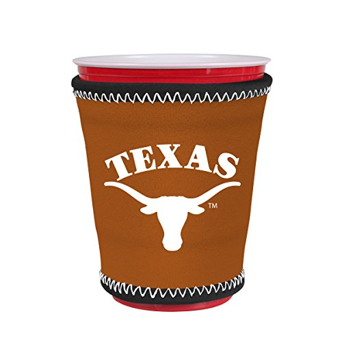 Kolder NCAA Logo Coolie Cup Holder Sleeve Fitting Plastic Cups, Pint Glasses, Coffee Cups, Ice Cream, Etc. - Neoprene and Bottomless (Texas Longhorns)