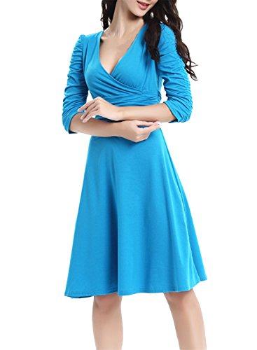 ACHICGIRL Classic Faux Wrap V Neck Slim Fit Dress Skyblue