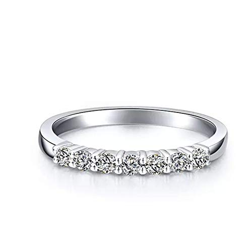 Erllo 2.25mm 925 Sterling Silver Wedding Band Round Simulated Diamond Cubic Zirconia Half Eternity Stackable Engagement Ring