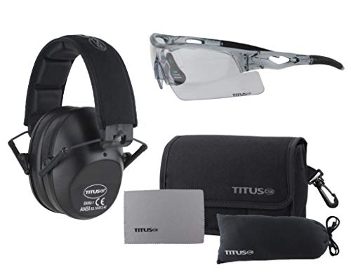 TITUS Slim-line Earmuffs and Safety Glasses Combo Pack (Black, Grey Frame w/Clear Lens)