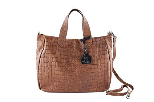 Anna 40x34x16 real Made Shopper Cecere genuine embossed in Bag Cocco cm leather in Italy SxSq1r