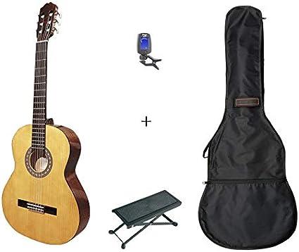 Pack Santos Y Mayor 9B-LH - Guitarra clásica 4/4 izquierda + funda + reposapiés + afinador: Amazon.es: Instrumentos musicales