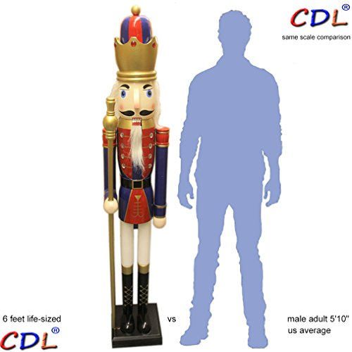 CDL 6ft tall life-size large/giant red Christmas wooden nutcracker king ornament on stand holds golden scepter for indoor outdoor Xmas/event/ceremonies/commercial decoration(6 feet, king red k14)