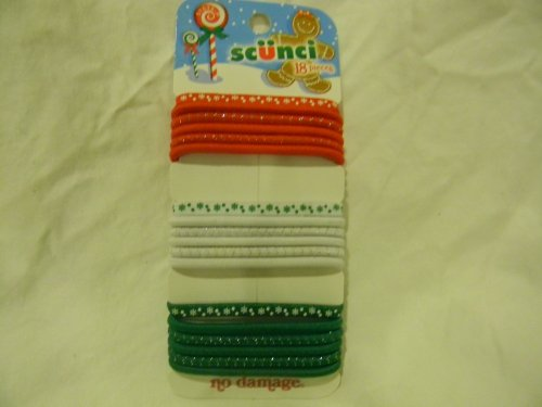 Scunci Ponytail Holder Christmas Red, White, and Green