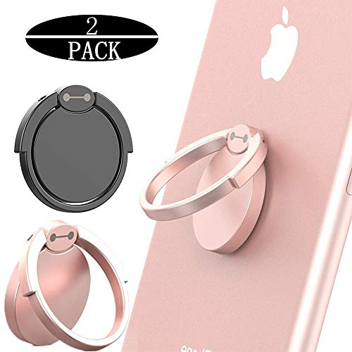 (Finger Ring Stand 2 Pack, Masua 360° Rotary Cell Phone Holder Finger Loop Grip Mount Universal Smartphone Kickstand for iPhone 6/6s Plus, iPhone 7/7 Plus, Samsung Galaxy S8/S8 -Black+ Rose Gold)