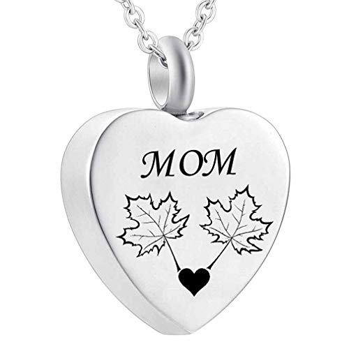 WK Cremation Jewelry Maple Leaf Heart Urn Necklace Keepsake Memorial Pendant (MOM)