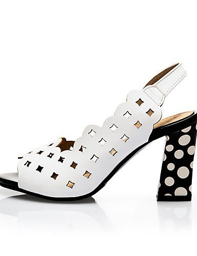 ShangYi Womens Shoes Leatherette Chunky Heel Heels / Peep Toe Sandals Casual Black / White Black