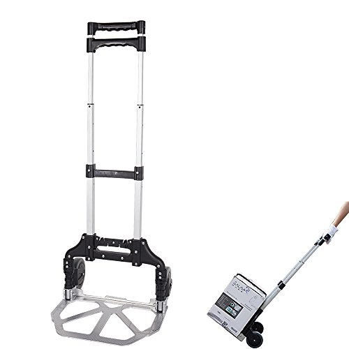 KARMAS PRODUCT Folding Hand Truck Air Travel Baggage Cart Utility Carts Heavy Duty Dollies 150LB Black by KARMAS PRODUCT