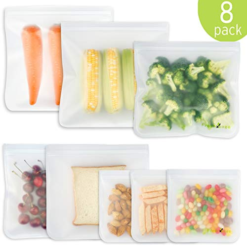 8 Pack Reusable Storage Bags - 2 Reusable Big Meat Bags, 3 Sandwich Bags and 3 Snack Bags Leakproof Freezer Bags for Steak, Liquid, Fruit, Snack, Eco-friendly Thick Ziplock Bags Food Safety BPA FREE (The Best Steak Sandwich)
