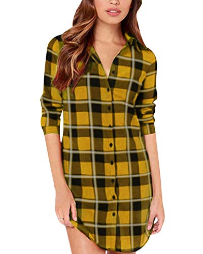 (ZANZEA Women Blouses Tops Buffalo Check Plaid Long Sleeve Collar Neck Casual Button Down Shirts Black Yellow)