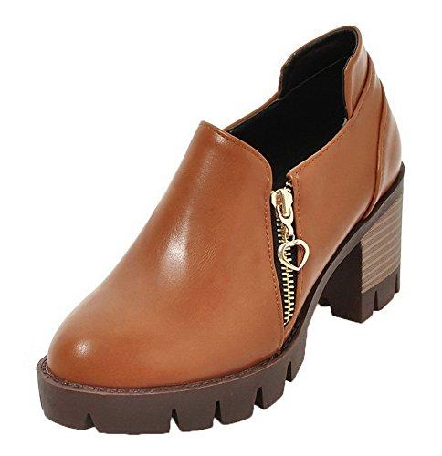 AgooLar Damen Reißverschluss Schließen Zehe Mittler Absatz Rein Pumps Schuhe Braun