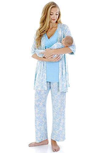 ec97e249bba9a Everly Grey Women's Analise 5 Piece Maternity and Nursing PJ Pant Set with  Matching Baby Gown