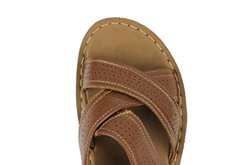 Mens Marrone Xposed Strap Walking Indietro Slippers Beach New Sandali Pelle Jesus Toe In T55Cw4q