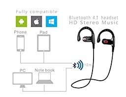 Ansin Wireless 4.1 Bluetooth Noise Cancelling In-ear Headphones with Mic - Black