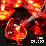 Konsait Valentine's Day Party Decorations, Valentine Heart Shaped String Light Battery Operated(82Ft, 20Llights, 8Modes) for Home Window Holiday Valentines Day Party Favors Supplies