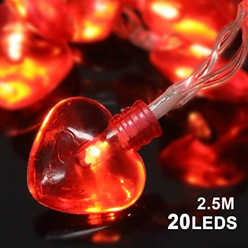 Konsait Valentine's Day Party Decorations, Valentine Heart Shaped String Light Battery Operated(82Ft, 20Llights, 8Modes) for Home Window Holiday Valentines Day Party Favors Supplies ()