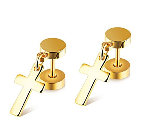 Hip Hop Faux Diamond Stud Earrings (Cross Stainless Steel Mens Womens Stud Earrings Set Ear Piercing Plugs Tunnel Punk Style (Gold(1Pair)))