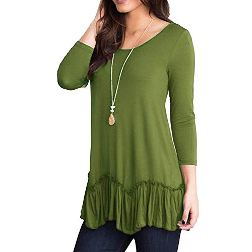 Dressffe Casual Womens Tops Plus Size Blouses for Women Fashion 2018 Shirts 3/4 Sleeve O-Neck Ruffled Pleated Hem T-Shirt (L, Green)