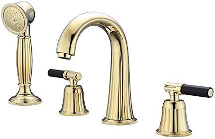 金の浴槽の蛇口とハンドヘルドシャワー真鍮デッキマウントされた浴槽の蛇口セット多機能ダブルハンドル4穴シャワーミキサータップ冷水と温水