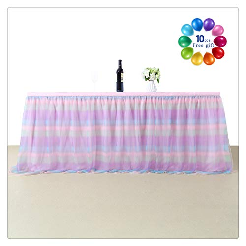 B-COOL Romantic Tutu Fluffy Tableware 4.5 Yards Rainbow Pink Accordion Pleat Table Skirt For Girls' Party Wedding Birthday Party(L14(ft) H 30in)