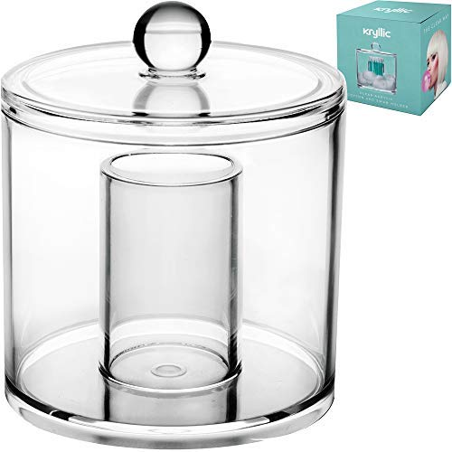 Acrylic Cotton Balls Qtip Holder - clear bathroom decor apothecary canister jar dispenser & organizer with lid for vanity! Container for food candy & swab q tips makeup for easy cosmetic organization!
