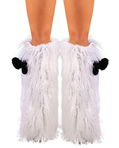 [iHeartRaves White Fluffy Leg Warmers - Rave GoGo Fluffies] (Furry Rave Boots)