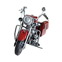 9 Inch Motorcycle Model Vintage Style Figurine Motorbike Boy Gift Kids Toy Home Office Decor ZG0140 (3.Red)