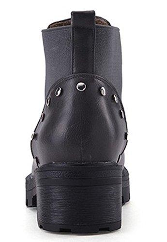 IDIFU Womens Casual Studded Low Heel Chunky Lug Sole Short Ankle Booties Gray mGdELLg