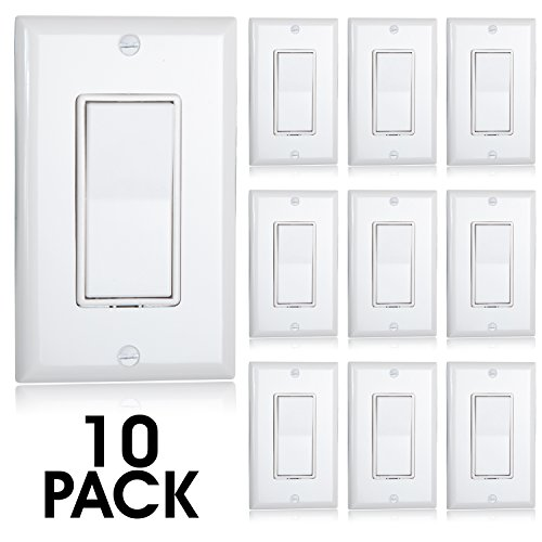 Maxxima Single Pole Decorative Wall Switch 15A On/Off White, Rocker Light Switch Wall Plates Included (Pack of 10) (Single 15a)