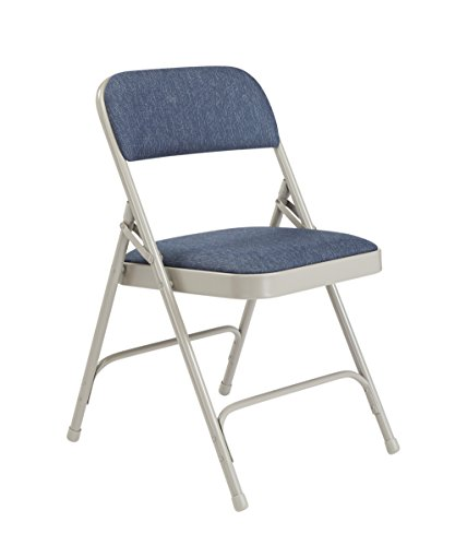National Public Seating 2200 Series Steel Frame Upholstered Premium Fabric Seat and Back Folding Chair with Double Brace, 480 lbs Capacity, Imperial Blue/Gray (Carton of ()