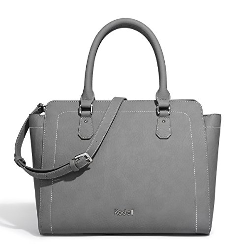 Kadell 2018 New Women Soft Top Handle Satchel Handbags Shoulder Bag Tote Purse Messenger Bags with Zipper Grey by Kadell