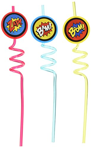 Superhero Straws, hard plastic with superhero wording: Bam!, Zap!, Boom! .  Re-useable, 12 straws, great for superhero birthday party, party, birthday, superhero, boy birthday party (Halloween Food Wording)