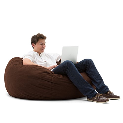 Big Joe Large Fuf Foam Filled Bean Bag Chair, Comfort Suede, - Bag Bean Brown