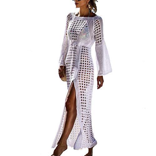 Saherewanr Women's Swimsuit Cover Up Dress Long Bathing Kimono Beach-wear Stripe Lace Maxi Skirt Boho Loose Floral (White)