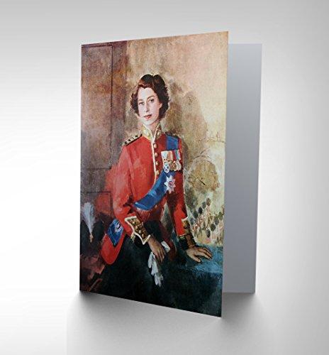 NEW PAINTING QUEEN ELISABETH MILITARY REGALIA PORTRAIT GREETINGS CARD CP1220 (Military Portrait)