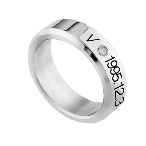 KPOP BTS Bangtan Boys Titanium Steel Letters Printed Rings Hot Gift for A.R.M.Y (H03)