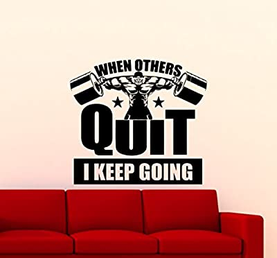 Gym Wall Decal When Others Quit I Keep Going Motivational Quote Fitness Vinyl Sticker Home Sport Motivation Gym Poster Art Decor Quote Inspirational Words Lettering CrossFit Workout Mural 132gy