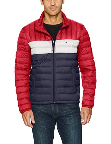 Tommy Hilfiger Men's Packable Down Jacket (Regular and Big & Tall Sizes), Red/White/Midnight, Medium