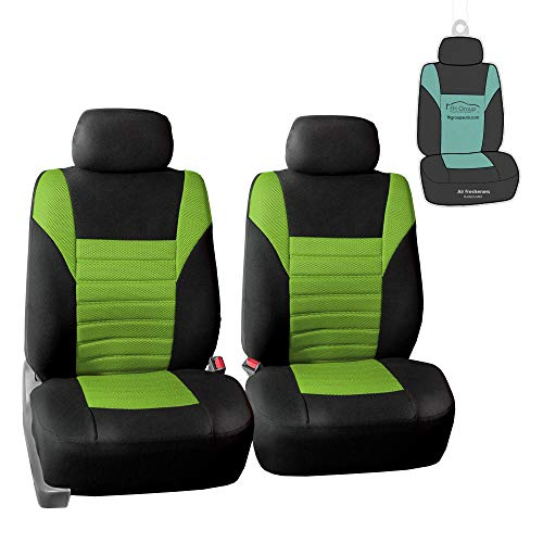 FH Group FB068102 Premium 3D Air Mesh Seat Covers Pair Set (Airbag Compatible) w. Gift, Green/Black Color- Fit Most Car, Truck, SUV, or Van