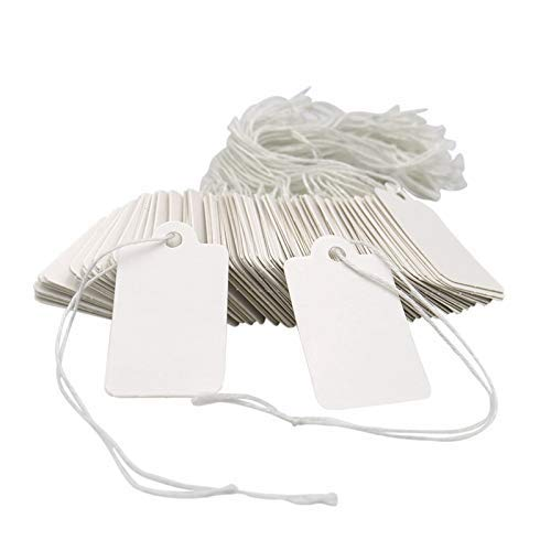 - 500PCS Marking Tags,White Price Labels Tags,DIY Craft Card Tag,Creative Blank Paper Tags with String,4.5 x 2.5CM