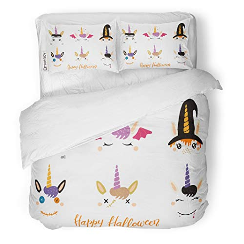 Tarolo Bedding Duvet Cover Set Halloween Cute Unicorn Faces Witch Vampire Zombie Frankenstein Devil Flat for Children Party 3 Piece Twin 68