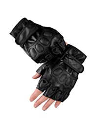 Men's Leather Fingerless Gloves Motorcycle Driving Cycling Gloves (Black)