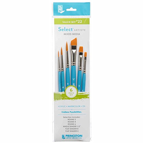 (Princeton Select Artiste, Mixed-Media Brushes for Acrylic, Oil, Watercolor Series 3750, 7 Piece Value Set 123)