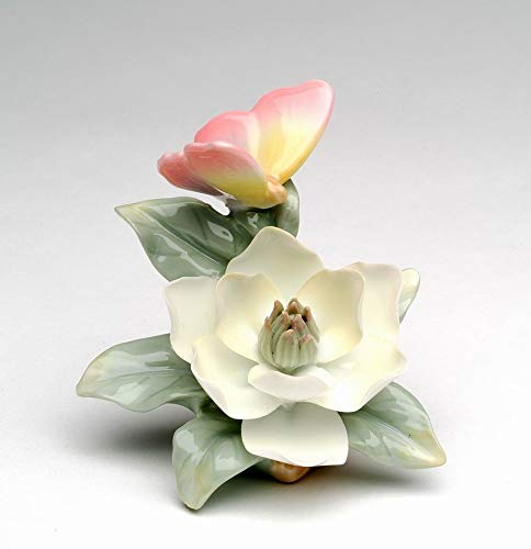 (Cosmos Gifts Fine Porcelain Mini Butterfly on Magnolia Figurine, 3