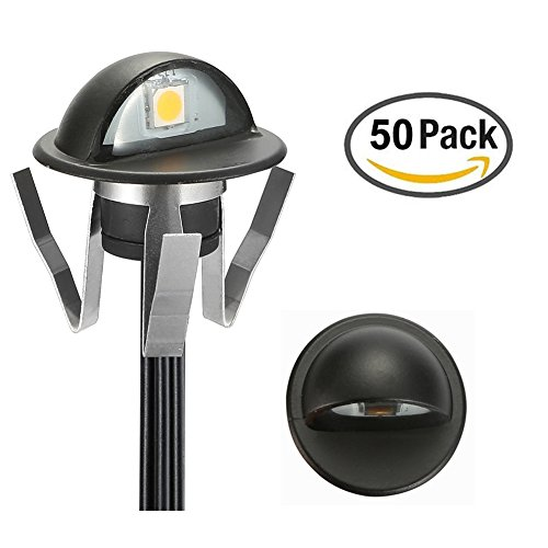 FVTLED Pack of 50 Low Voltage LED Deck lights kit Φ1.38'' Outdoor Garden Yard Decoration Lamp Recessed Landscape Pathway Step Stair RGB LED Lighting, Black by FVTLED