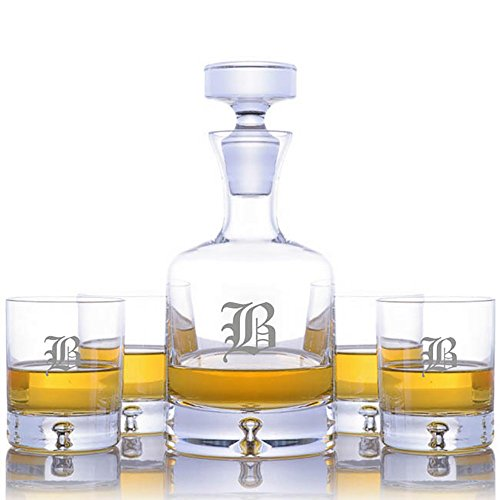 Personalized Ravenscroft Lead-free Crystal Taylor Whiskey Liquor Decanter & 4 Taylor Rocks Glasses Engraved & Monogrammed - Retirement Gift - Great Gift for Retirement, Weddings and - Crystal Ravenscroft 4