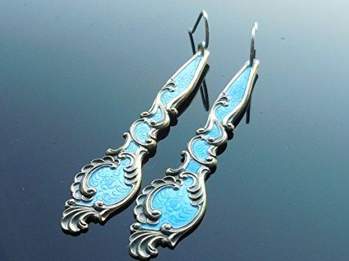 T H Marthinsen Northern Light Blue Enamel Earrings Norway - Blue Norway Light