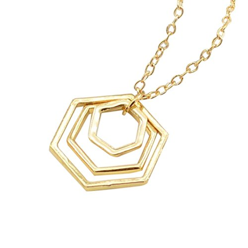 Gyoume Women Necklace Jewelry Polygon Pendant Necklace Alloy Jewelry Ornament Lady Girls Lovers Gifts (A, Gold) - Swarovski Polygon Crystal